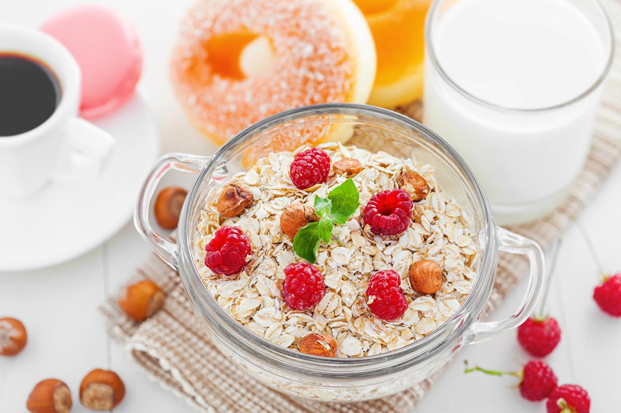 Фотографии Завтрак Малина Еда Мюсли Орехи Пища Продукты питания