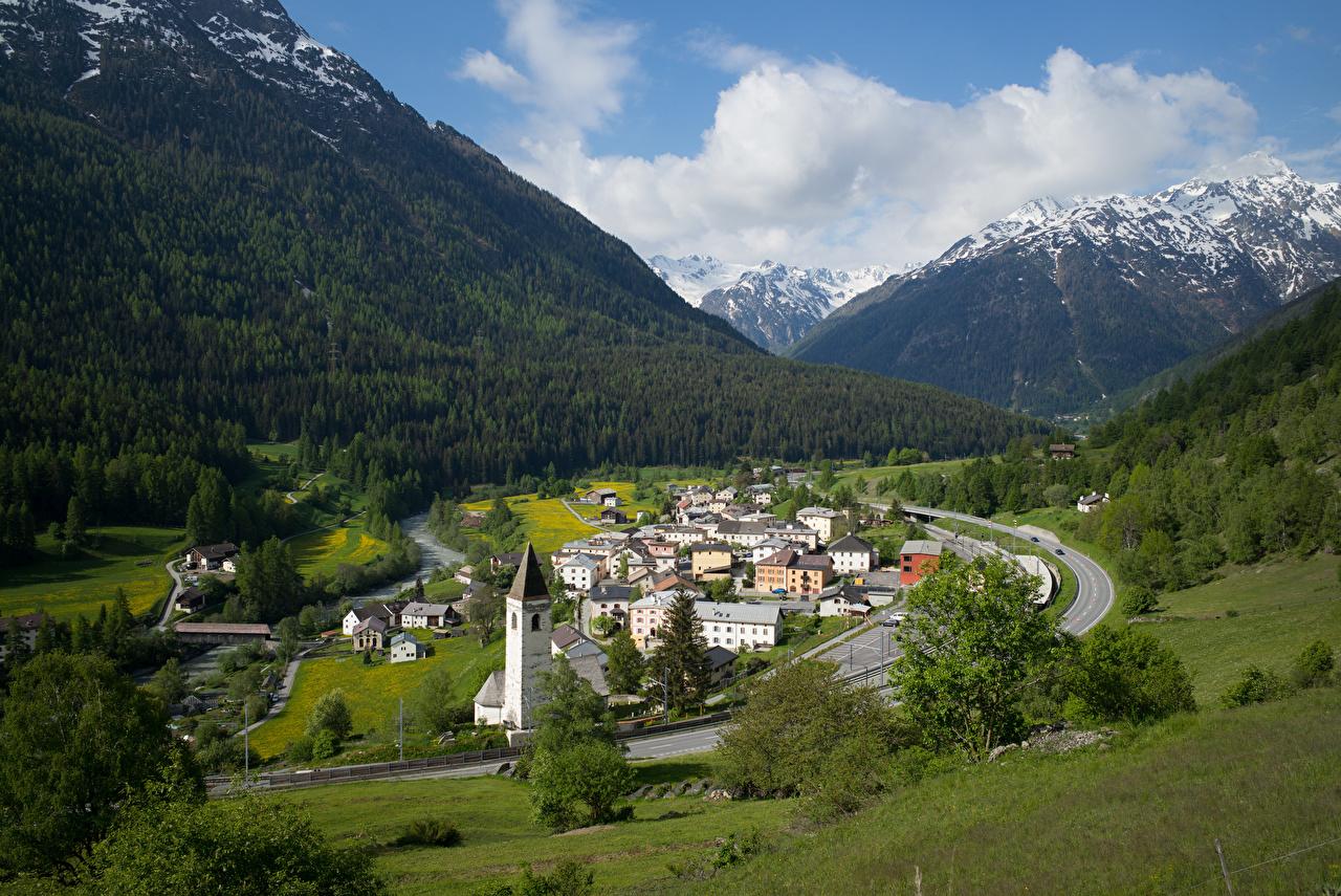 Фотография альп Швейцария Lavin Долина гора Природа Дома Облака Альпы Горы Здания облако облачно
