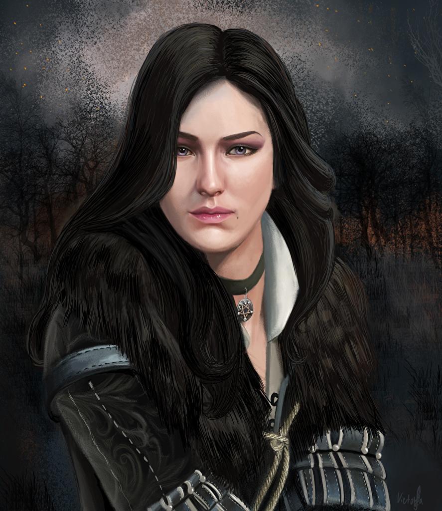 Фотографии The Witcher 3: Wild Hunt Брюнетка Yennefer of Vengerberg Девушки Игры смотрит Ведьмак 3: Дикая Охота Взгляд