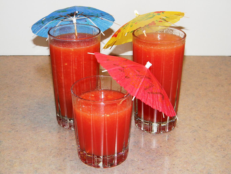 Фотография Сок Стакан Пища Зонт Трое 3 Напитки Еда втроем Продукты питания