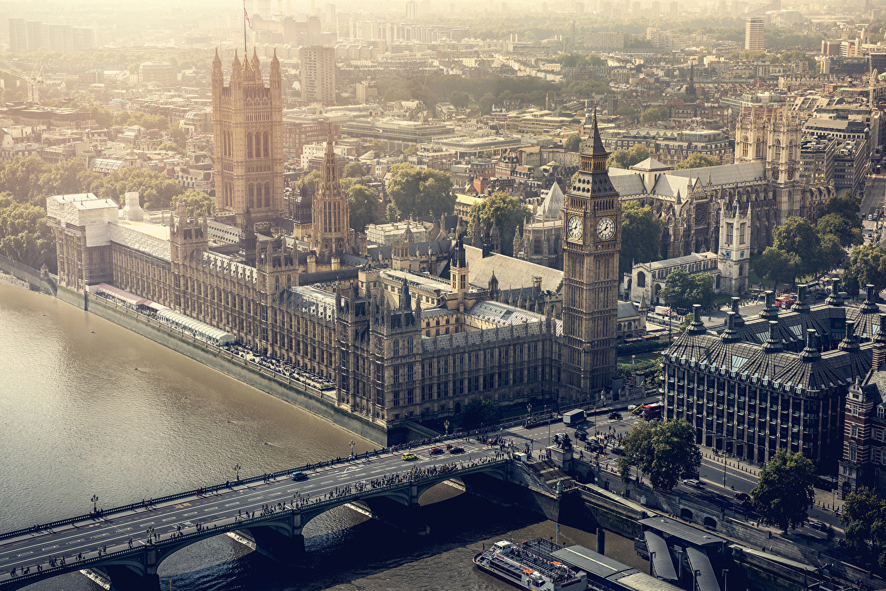 Картинки Лондон Биг-Бен Англия Мосты Реки Города Здания лондоне речка Дома