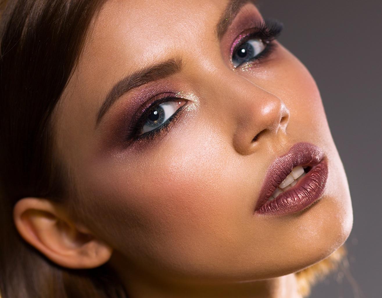 Фото Глаза Макияж Красивые Лицо Девушки Губы смотрит мейкап Взгляд