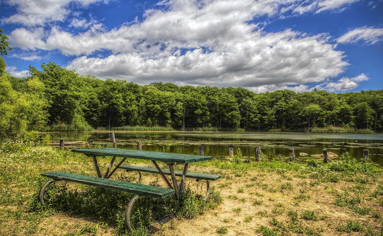 Картинки HDR Лето Природа лес Небо Озеро Скамейка Побережье Облака HDRI Леса берег Скамья облако облачно