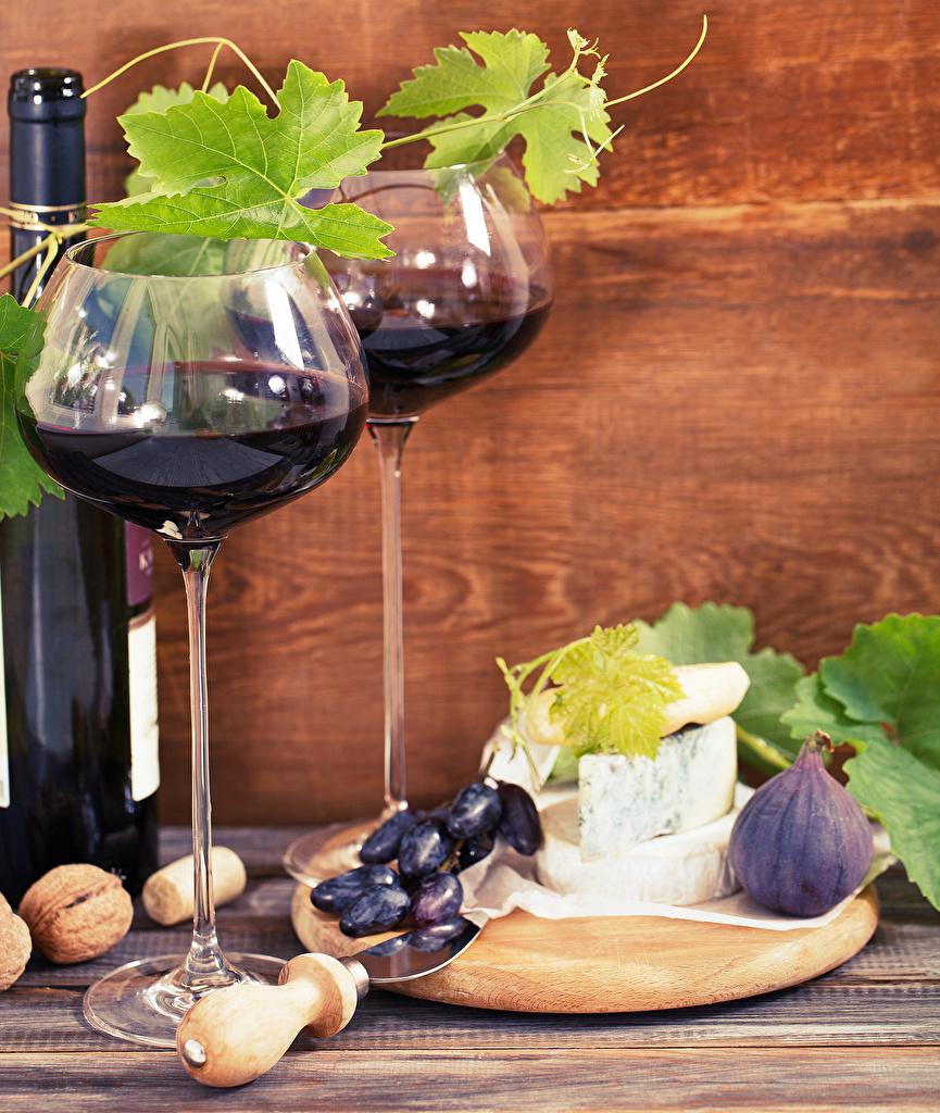 Картинки Вино Инжир Сыры Виноград Пища бокал Бутылка Орехи Еда Бокалы бутылки Продукты питания