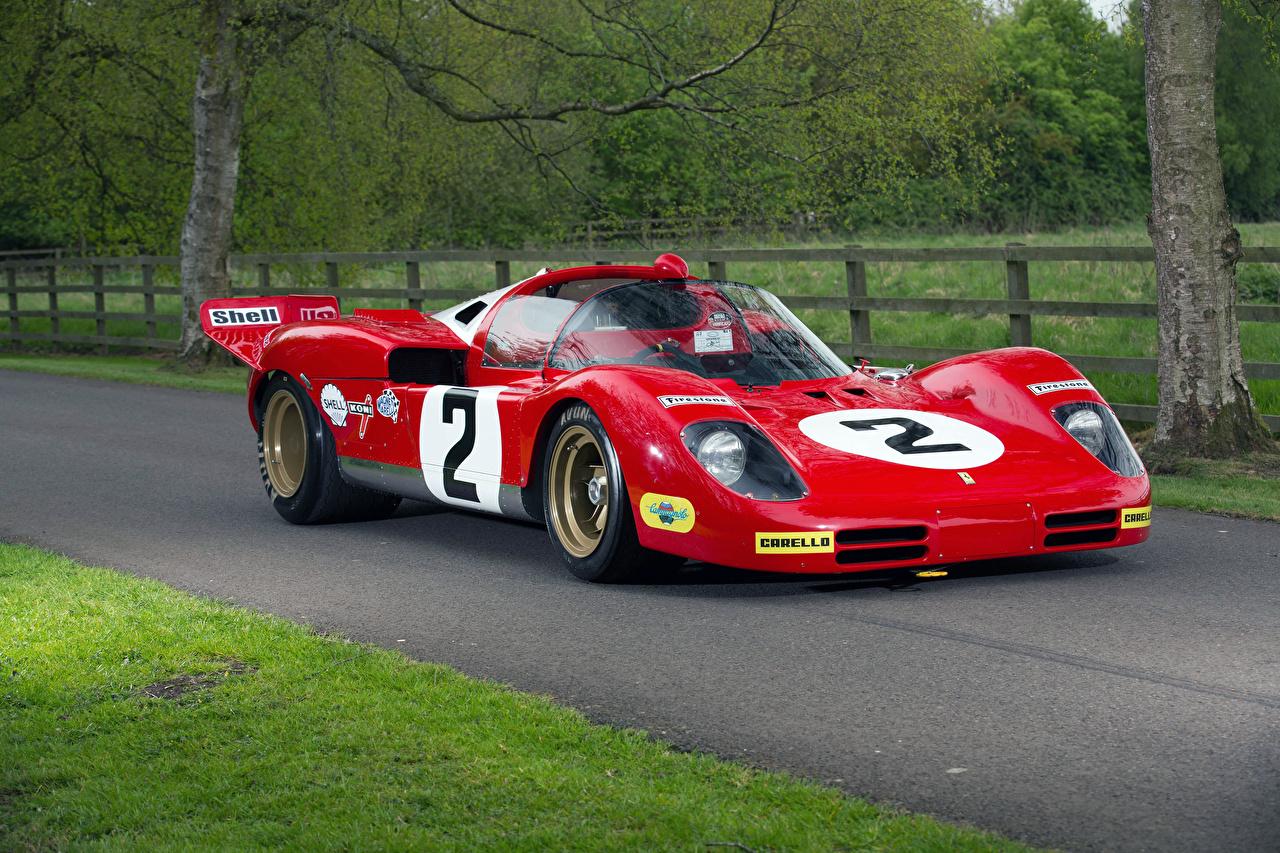 Картинка Тюнинг Феррари 1970 512 S Винтаж Красный Авто Металлик Ferrari Стайлинг Ретро старинные Машины Автомобили