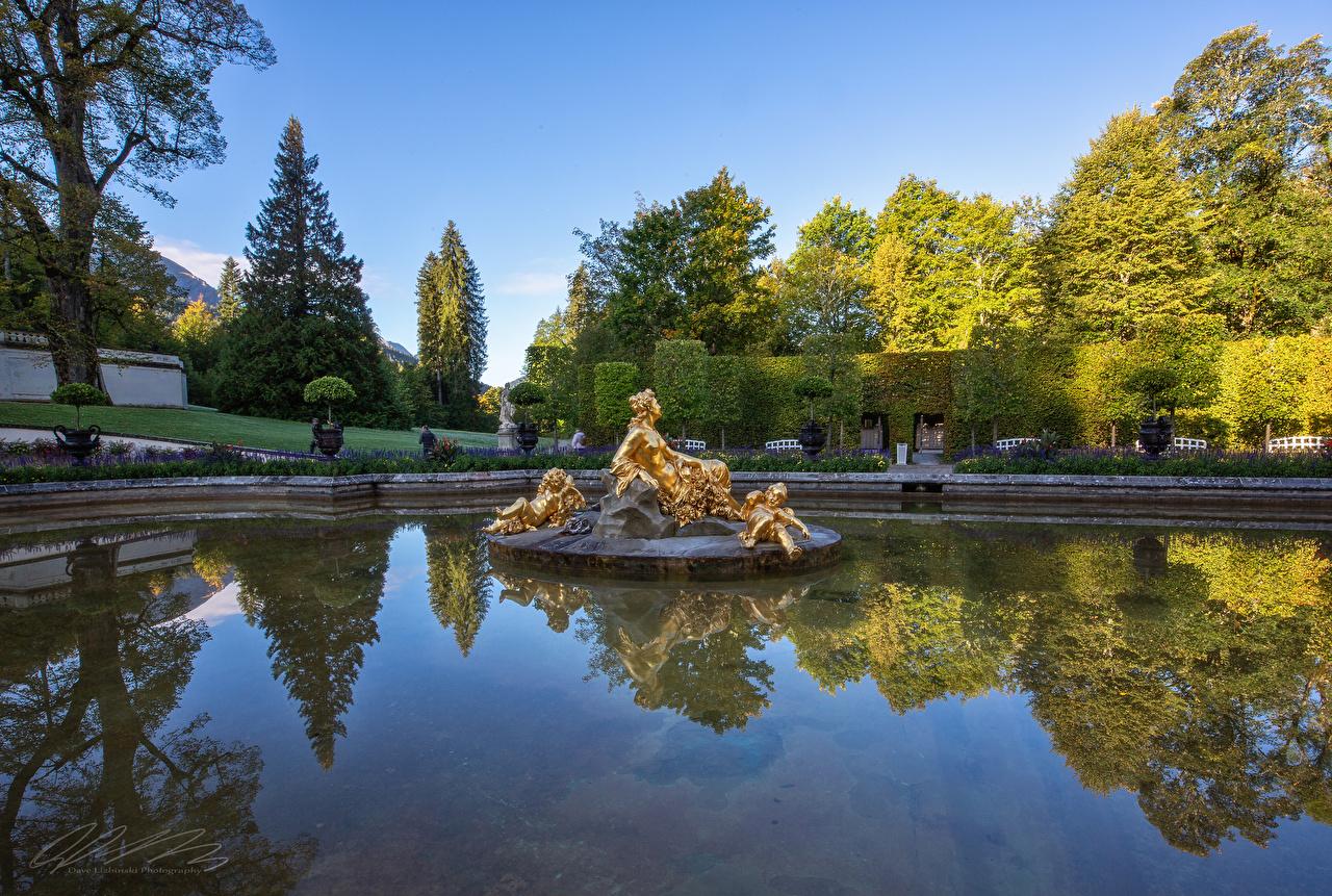 Фотография Германия Linderhof Palace park Природа Пруд парк кустов деревьев скульптура Дизайн Парки Кусты дерево дерева Деревья Скульптуры дизайна