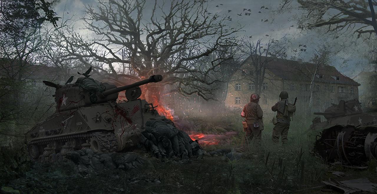 Фотографии военные Танки Солдаты Padded M4 Sherman M4 Шерман Армия танк солдат