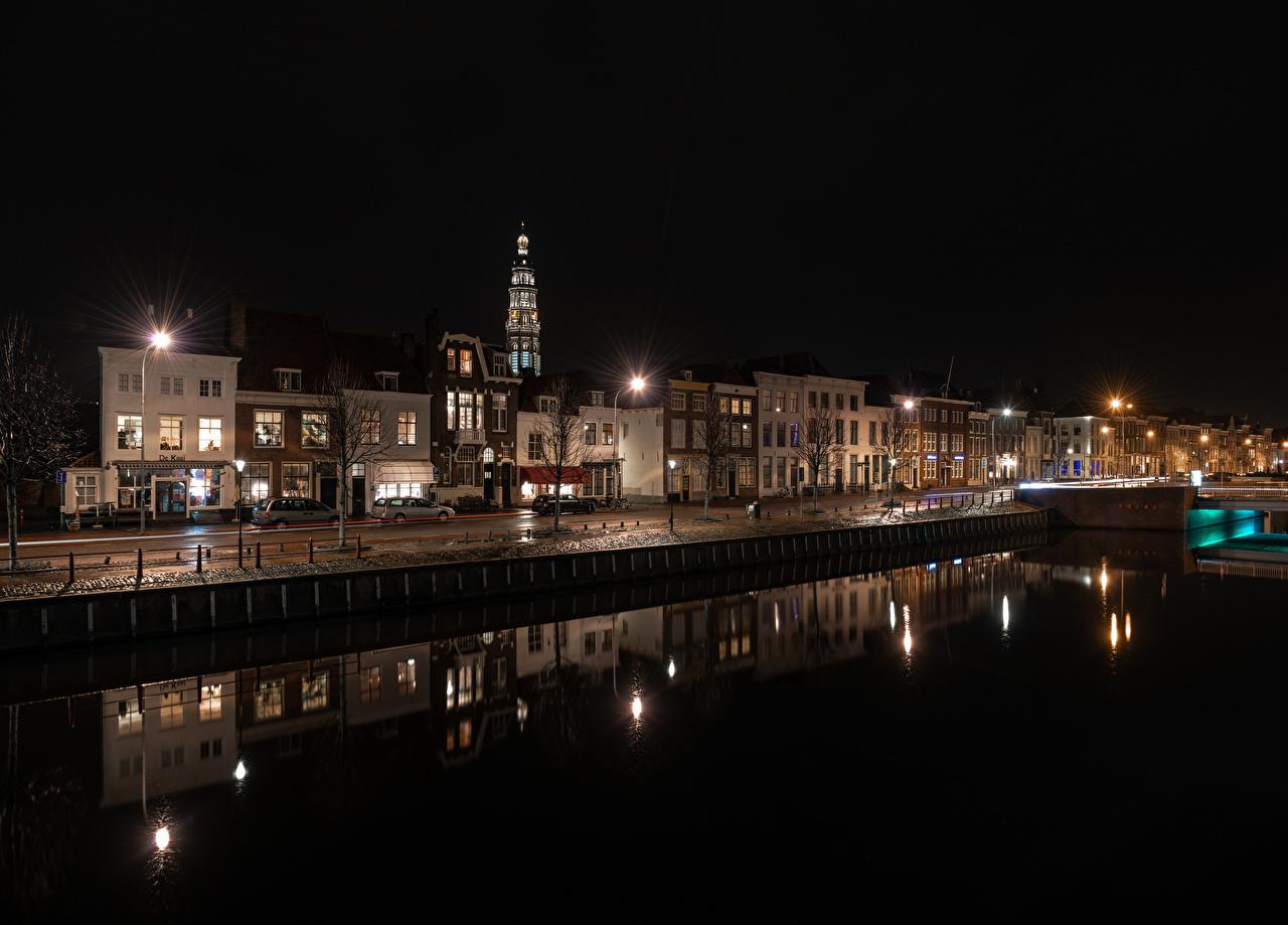 Фото голландия Middelburg Водный канал Ночные Уличные фонари Дома Города Нидерланды Ночь ночью в ночи город Здания