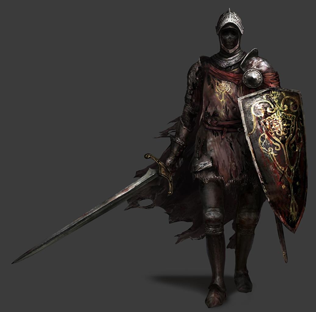 Фото Dark Souls III Щит Мечи Рыцарь Доспехи Фэнтези Игры Серый фон Dark Souls 3 броня Фантастика