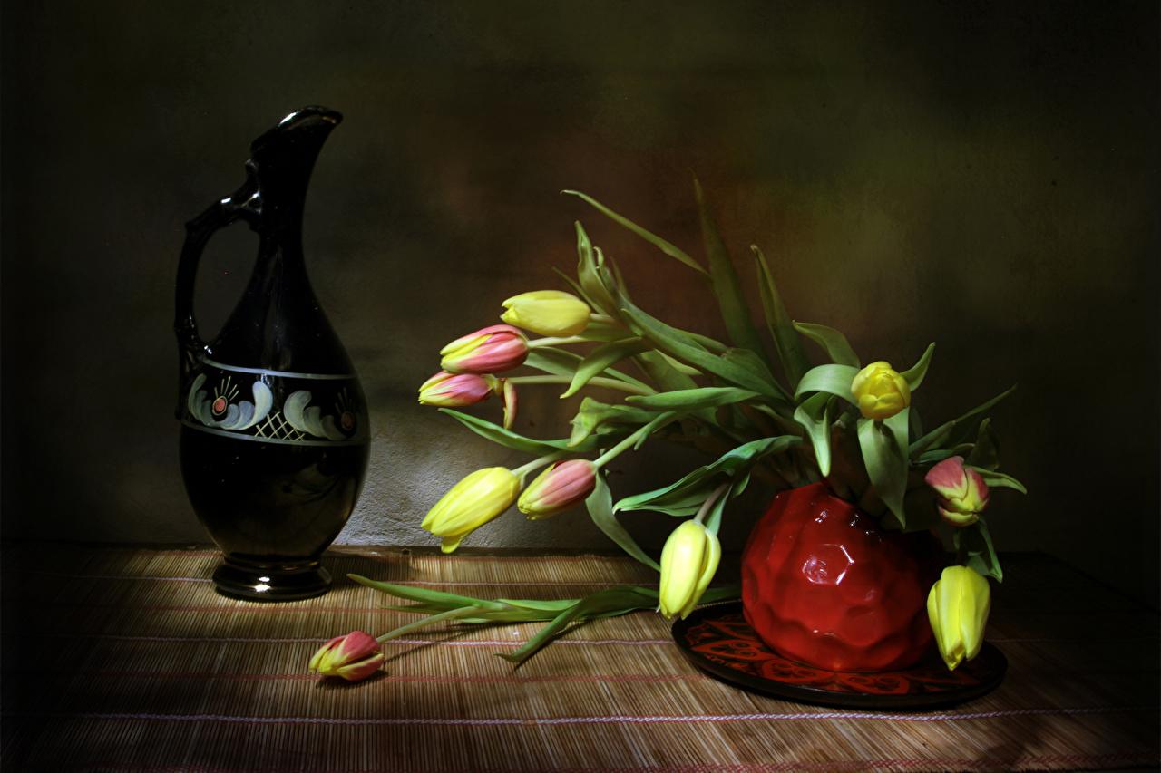 Картинки Тюльпаны цветок Кувшин Ваза тюльпан Цветы кувшины вазы вазе