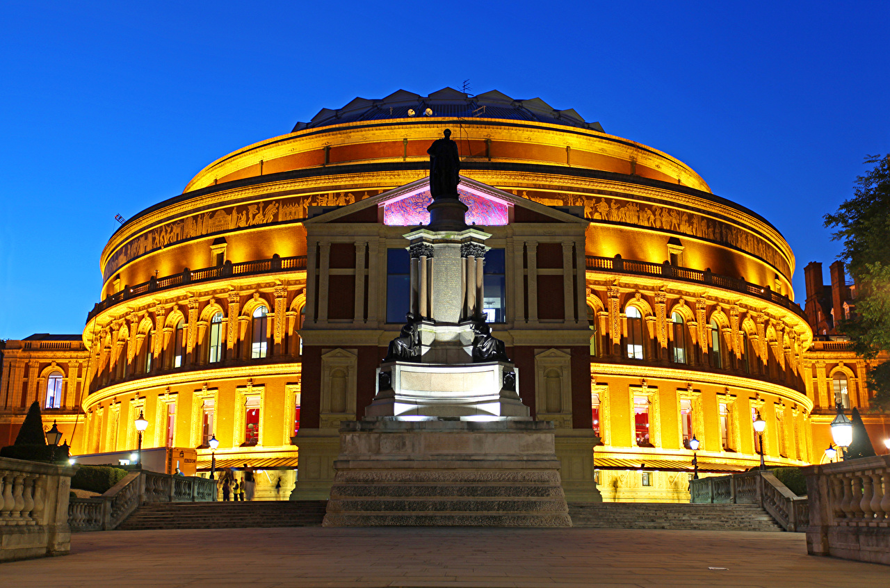 Фото лондоне Памятники Великобритания Royal Albert Hall Вечер Уличные фонари Города Здания Лондон Дома город