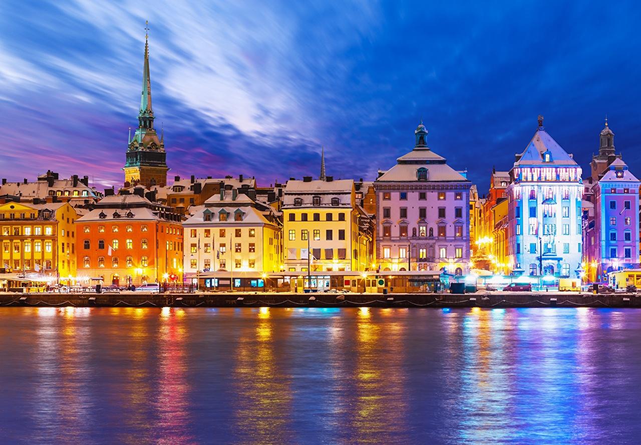 Картинки Стокгольм Швеция Небо Ночь берег Уличные фонари Дома Города ночью в ночи Ночные Побережье город Здания