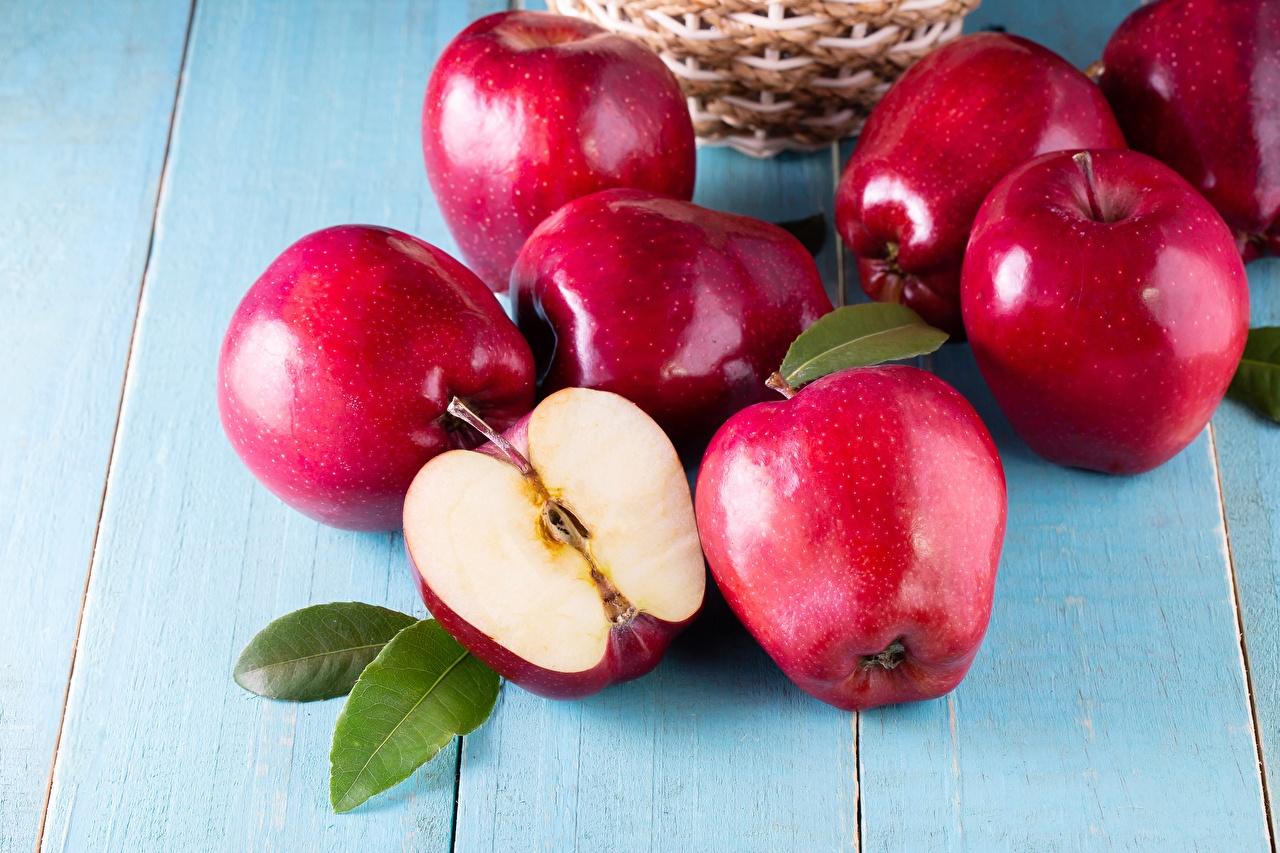 Фото Красный Яблоки Продукты питания Еда Пища