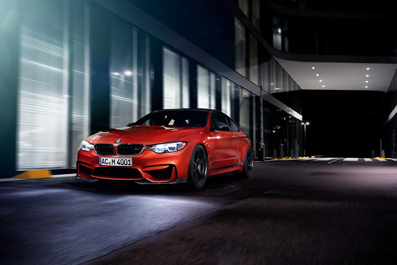 Фотография BMW 2014 AC Schnitzer M4 Coupe F82 красные Ночь автомобиль БМВ красная Красный красных авто ночью в ночи Ночные машины машина Автомобили
