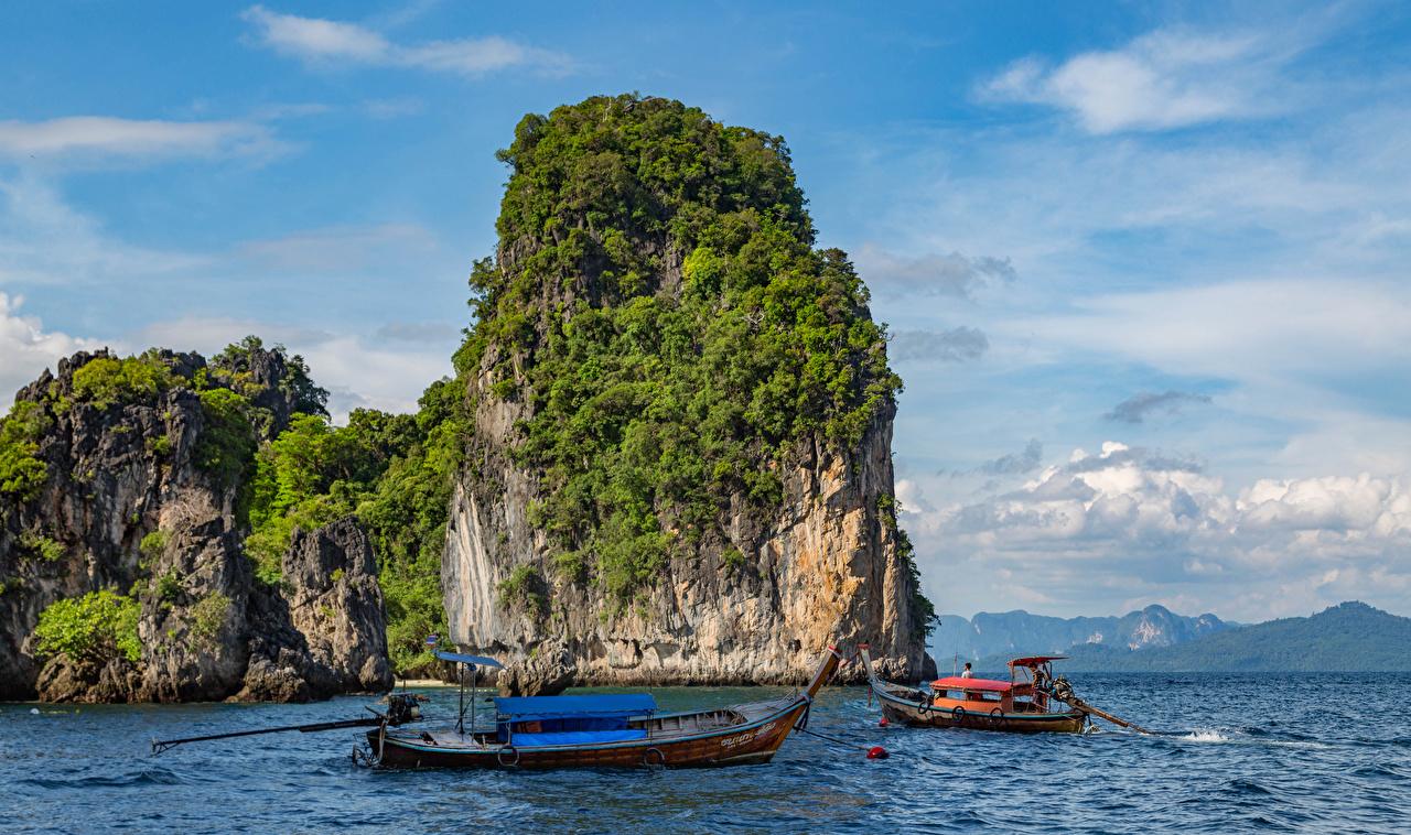 Картинки Таиланд Утес Природа Тропики Лодки Скала
