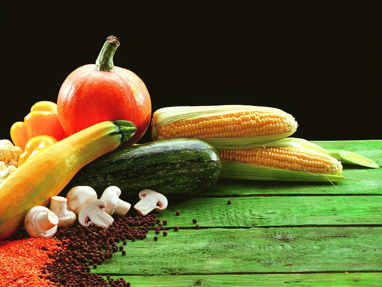 Картинки Тыква Кукуруза Грибы Овощи Продукты питания Доски Еда Пища