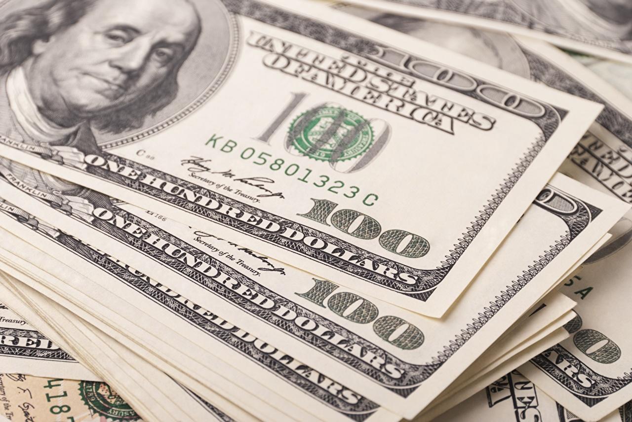 Фотографии Купюры Доллары 100 Деньги Крупным планом Банкноты вблизи