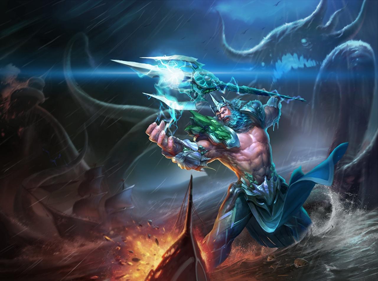 Фотографии Трезубец Воители Мужчины Poseidon, god of the seas Фэнтези трезубца воин воины мужчина Фантастика