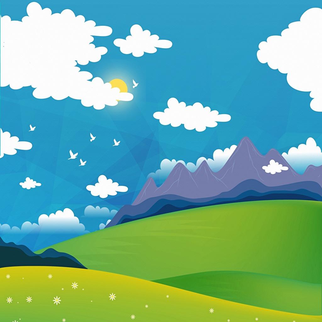 Картинка Птицы гора солнца Природа Луга Облака Векторная графика птица Горы Солнце облако облачно