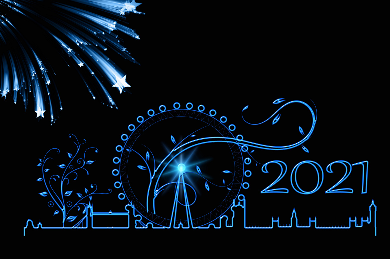 Фотографии 2021 лондоне Рождество фейерверк Звездочки силуэты колесом обозрения на черном фоне Лондон Салют Новый год Силуэт силуэта Колесо обозрения Черный фон