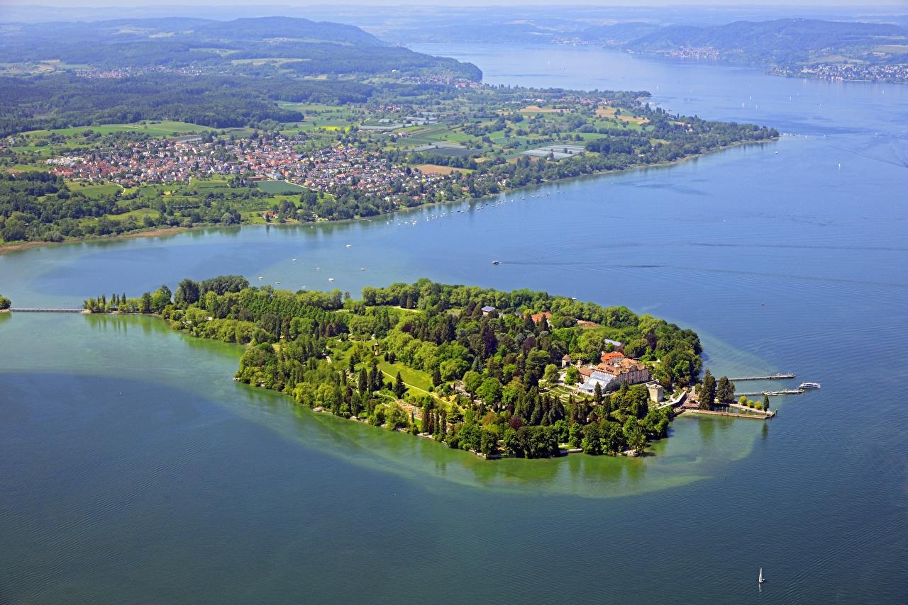 Фотографии Германия lake Mainau, Bodensee Природа Озеро Остров Сверху