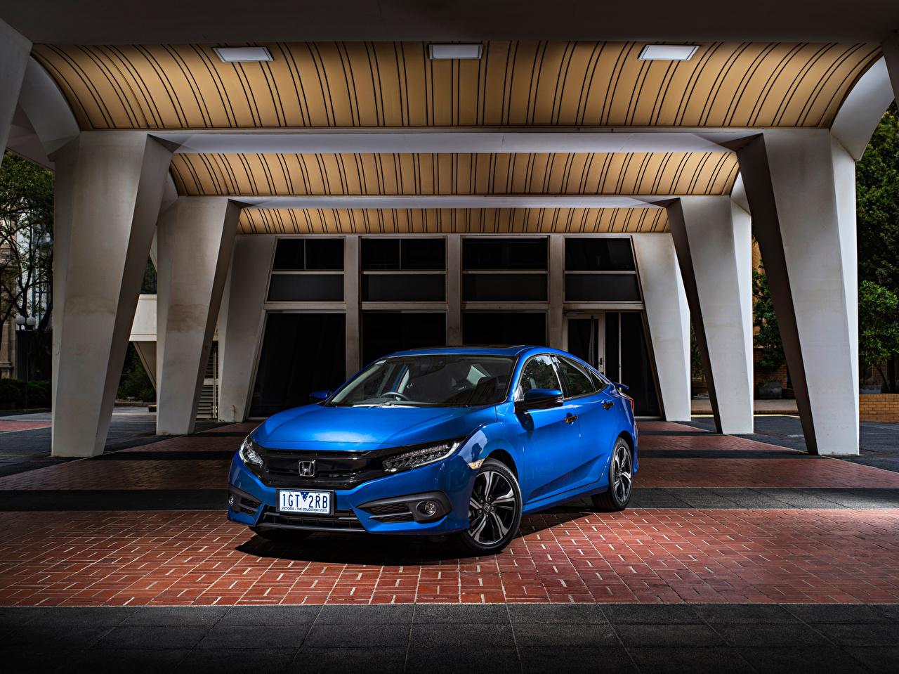 Картинки Хонда 2016-17 Civic Sedan RS Синий Авто Honda Машины Автомобили