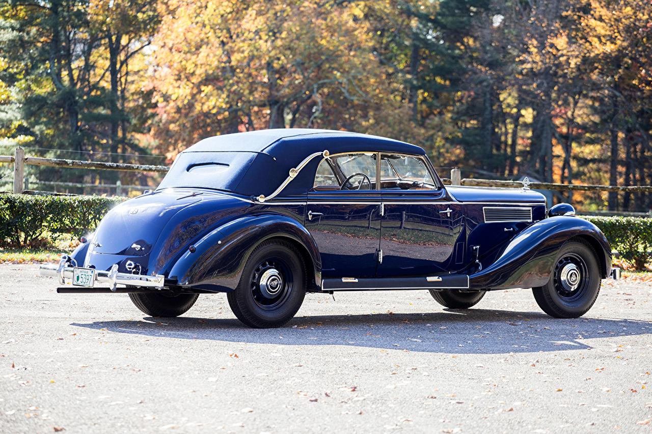 Картинка Maybach 1938-41 SW38 Cabriolet синие винтаж машина Металлик Майбах синих Синий синяя Ретро старинные авто машины автомобиль Автомобили