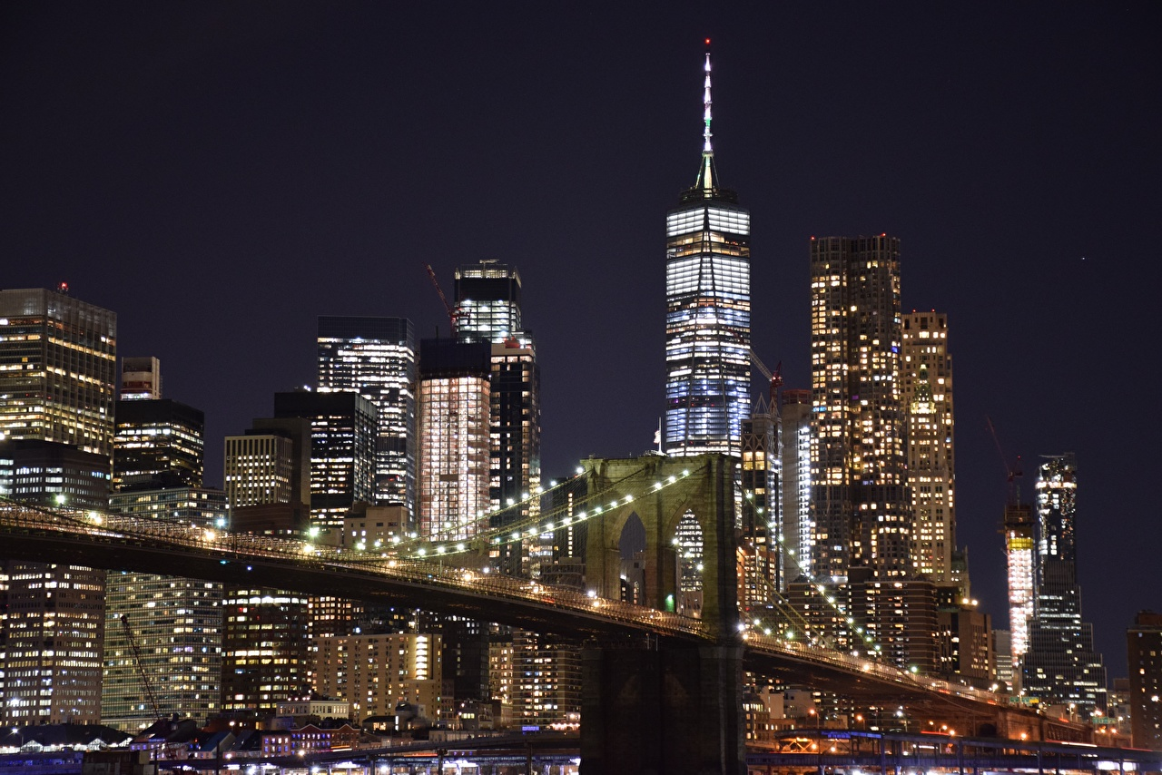 Фото Нью-Йорк Манхэттен США мегаполиса ночью Небоскребы Города штаты америка Мегаполис Ночь в ночи Ночные город
