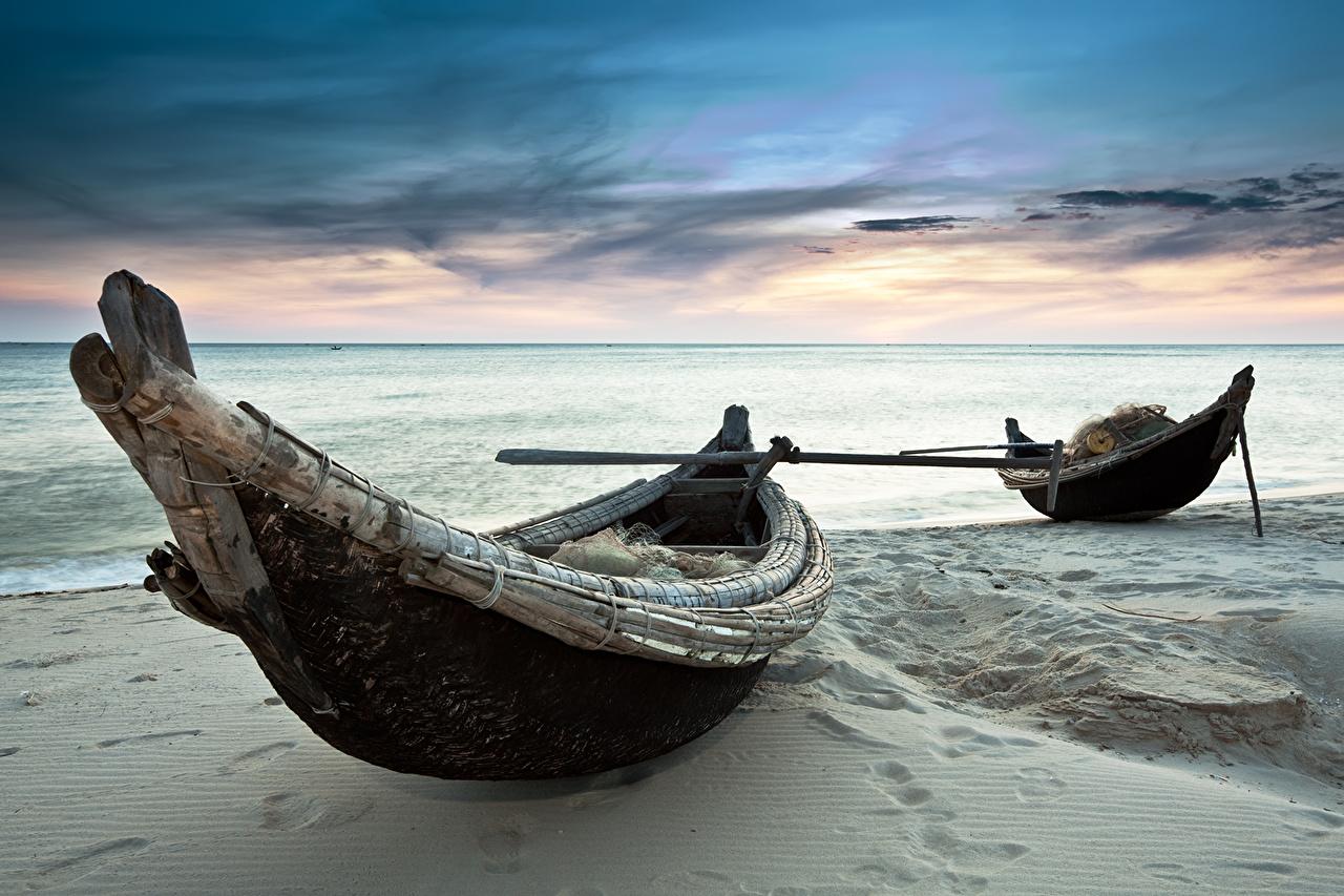 Фотография Пляж Море Природа Небо песка Лодки пляжа пляже пляжи Песок песке
