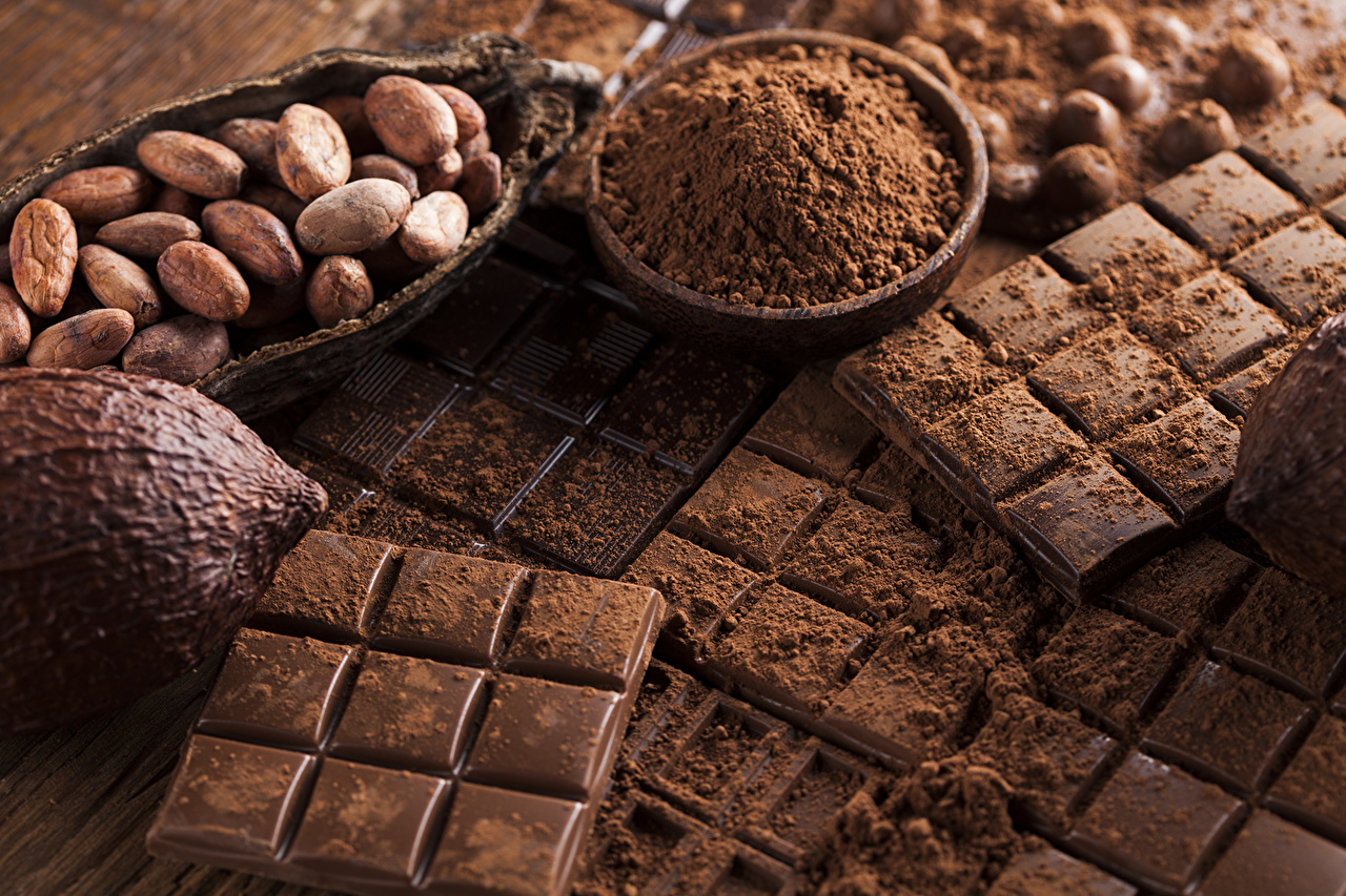 Фотография Какао порошок Шоколад Шоколадная плитка зерно сладкая еда шоколадка Зерна Сладости