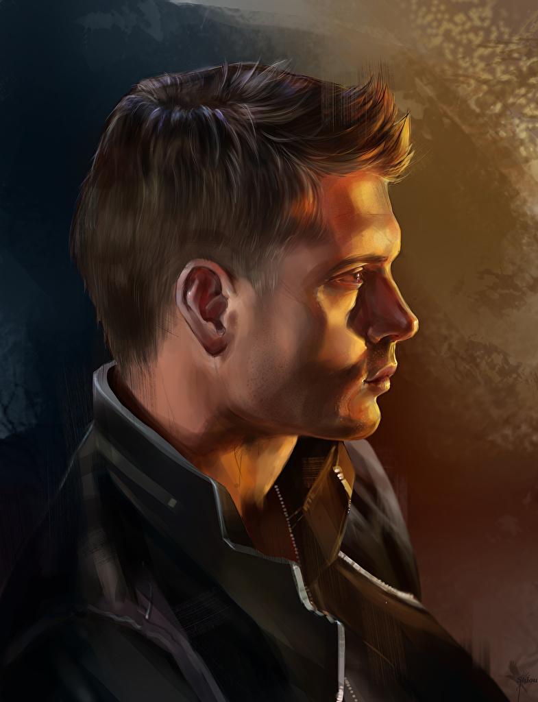Картинки Сверхъестественное Jensen Ackles Мужчины Fan ART Dean Winchester Фильмы Сбоку головы Рисованные  для мобильного телефона Дженсен Эклс мужчина Фан АРТ кино Голова