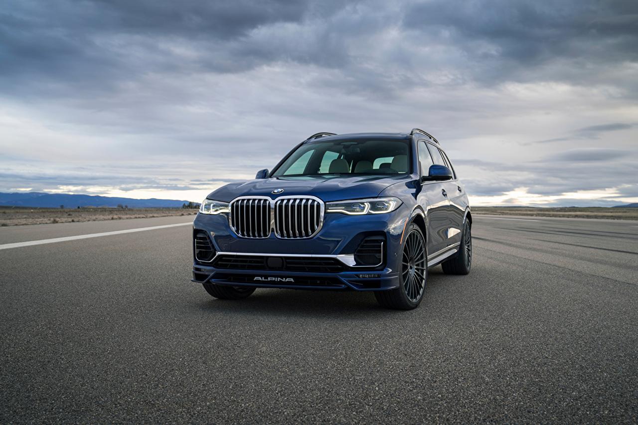 Фото БМВ CUV Alpina XB7, North America, G07, 2020 синяя Асфальт Металлик Автомобили BMW Кроссовер Синий синие синих авто машины машина асфальта автомобиль