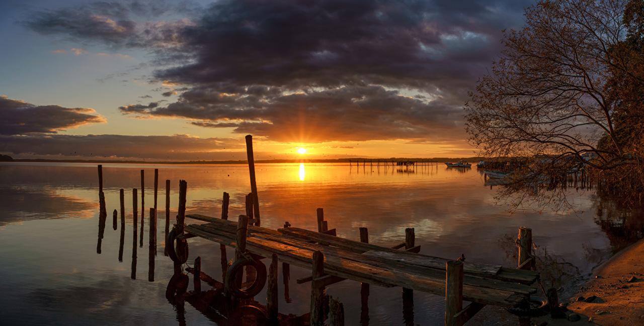 Фотография Япония Lake Ogawara Природа Озеро Рассветы и закаты Пирсы Причалы Пристань