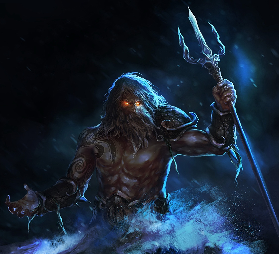 Фотографии Трезубец мужчина Воители Poseidon, god of the seas Фантастика трезубца воин воины Мужчины Фэнтези