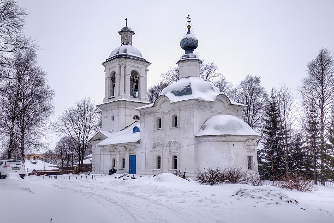 Фото Церковь Россия Belozersk Vologda Oblast зимние снегу Храмы город Зима Снег снеге снега храм Города
