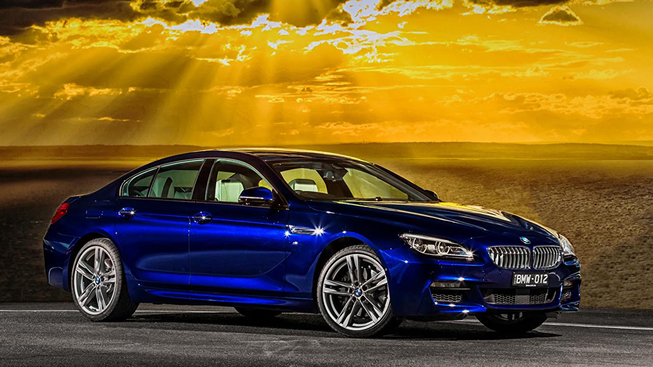 Картинка БМВ 2015 6-Series 650i M6 Gran Coupe Sport AU-spec F06 синяя Автомобили BMW Синий синие синих авто машины машина автомобиль