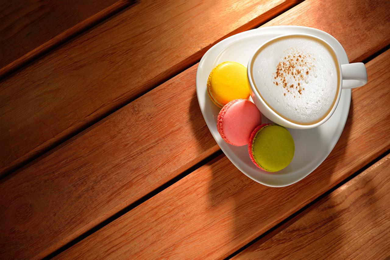 Фото Макарон Кофе Капучино Еда Чашка Доски Пища Продукты питания