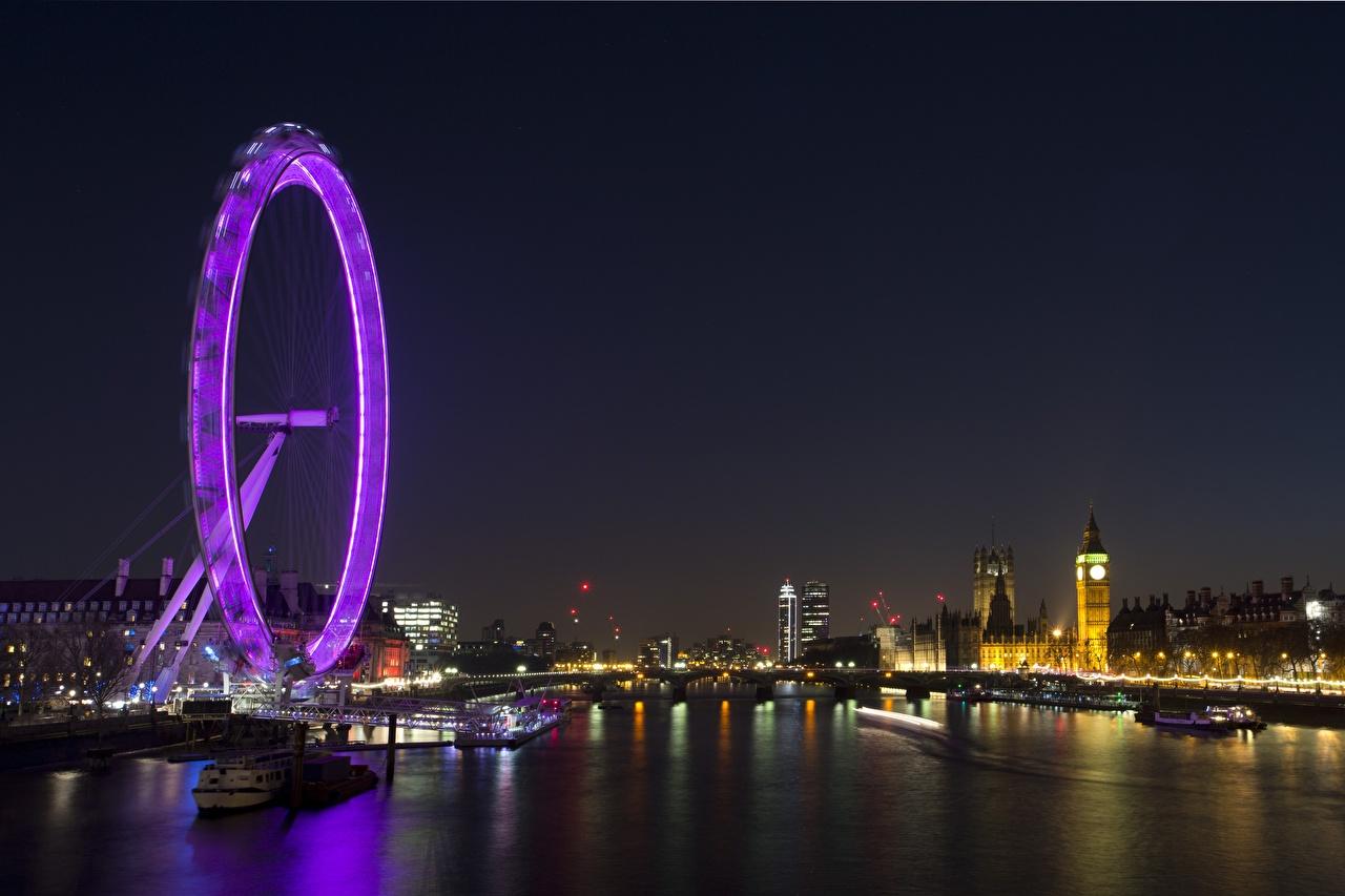 Картинки Лондон Биг-Бен Англия Thames Колесо обозрения Ночь речка город лондоне колесом обозрения Реки ночью в ночи Ночные Города