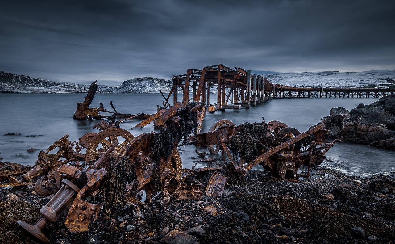 Фото Ирландия Grundarfjarðarbær Море Природа старые Причалы Пирсы старая Старый Пристань