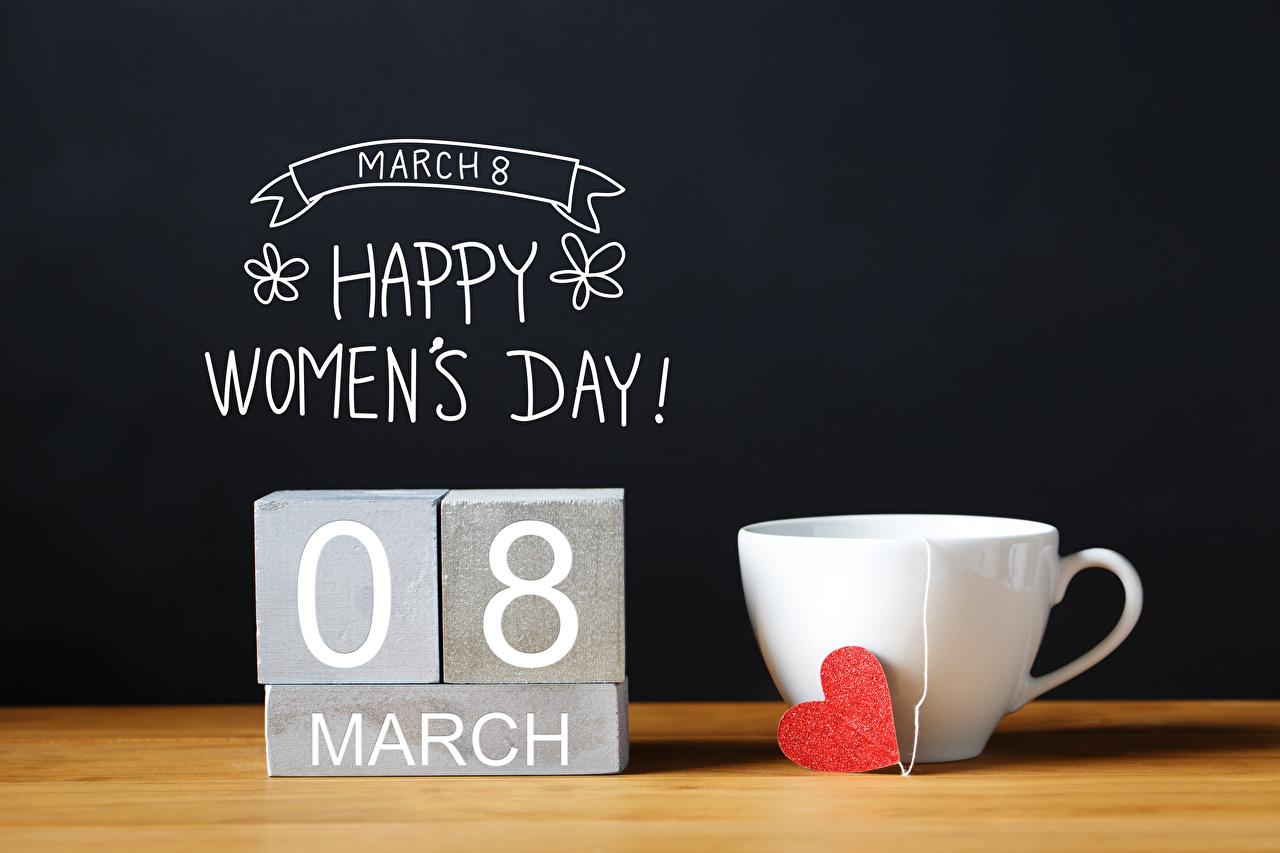 Картинки 8 марта Английский Сердце Пища Чашка Черный фон Международный женский день сердечко Еда Продукты питания