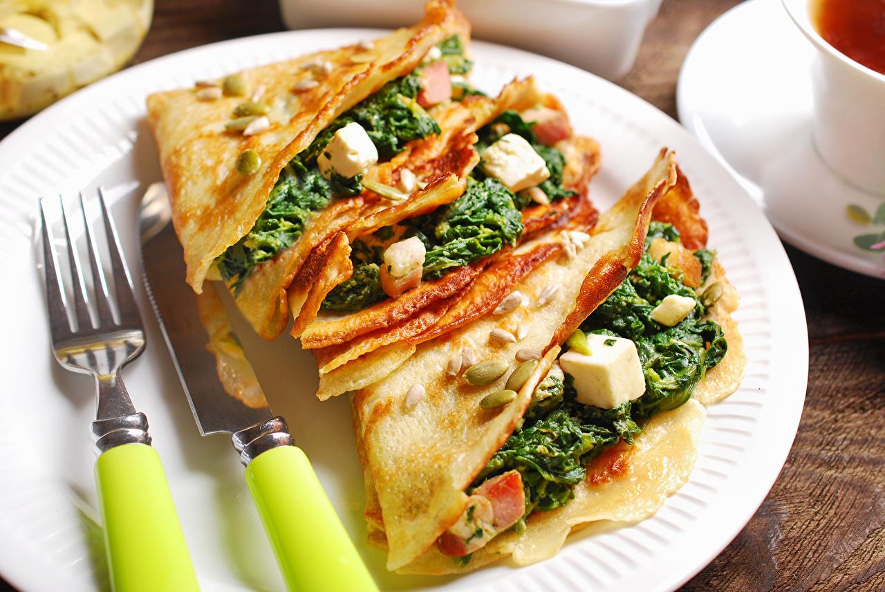 Картинка ножик Блины Овощи Вилка столовая Продукты питания Нож Еда Пища вилки