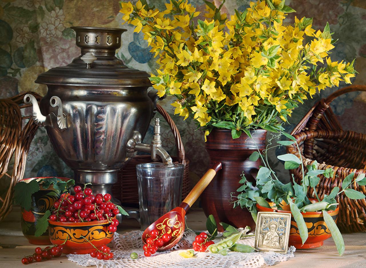 Обои Самовар Букеты стакана Смородина Пища Ложка Натюрморт Стакан стакане Еда ложки Продукты питания