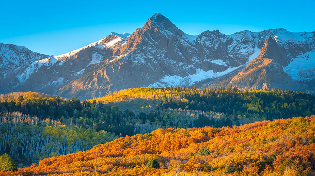 Фото штаты Colorado гора Осень Природа Пейзаж США америка Горы осенние
