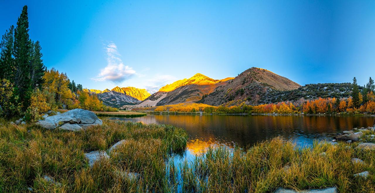Картинки Калифорния штаты гора Природа Озеро Пейзаж калифорнии США америка Горы