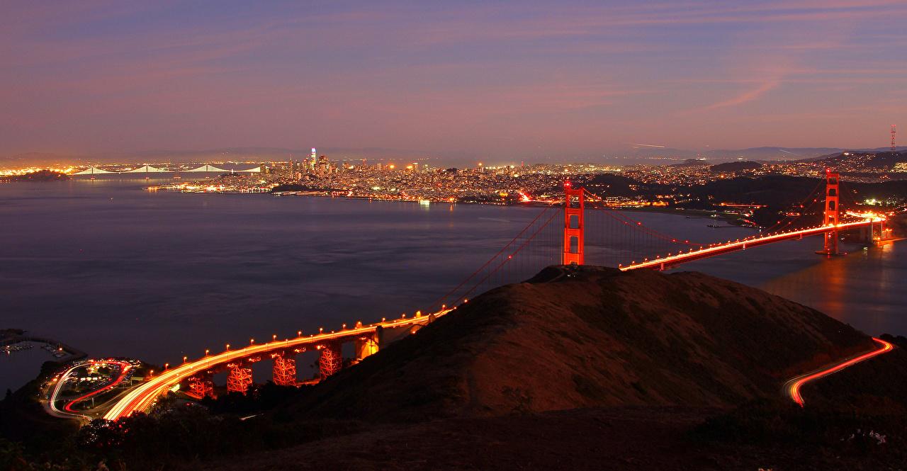 Картинки Сан-Франциско штаты Мосты Реки Вечер Города США речка