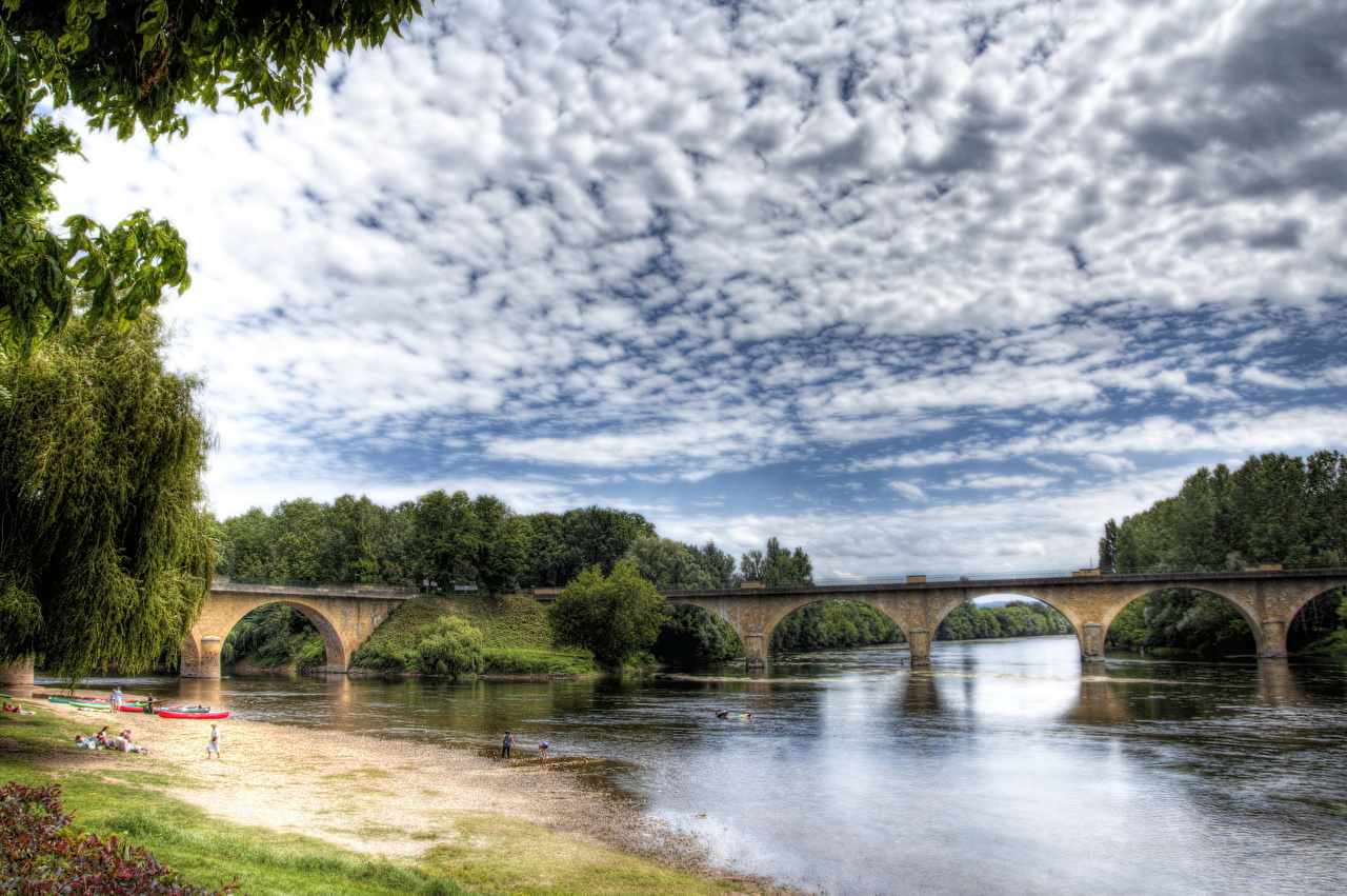 Фото Франция Aquitaine Limeuil HDRI мост Природа Небо Реки облако HDR Мосты река речка Облака облачно