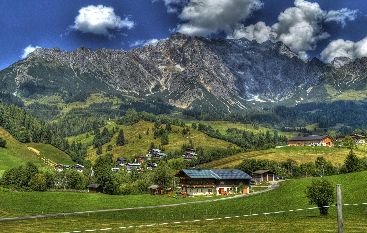 Фото Зальцбург Альпы Австрия HDRI гора Поля Дома Города Городки альп HDR Горы город Здания