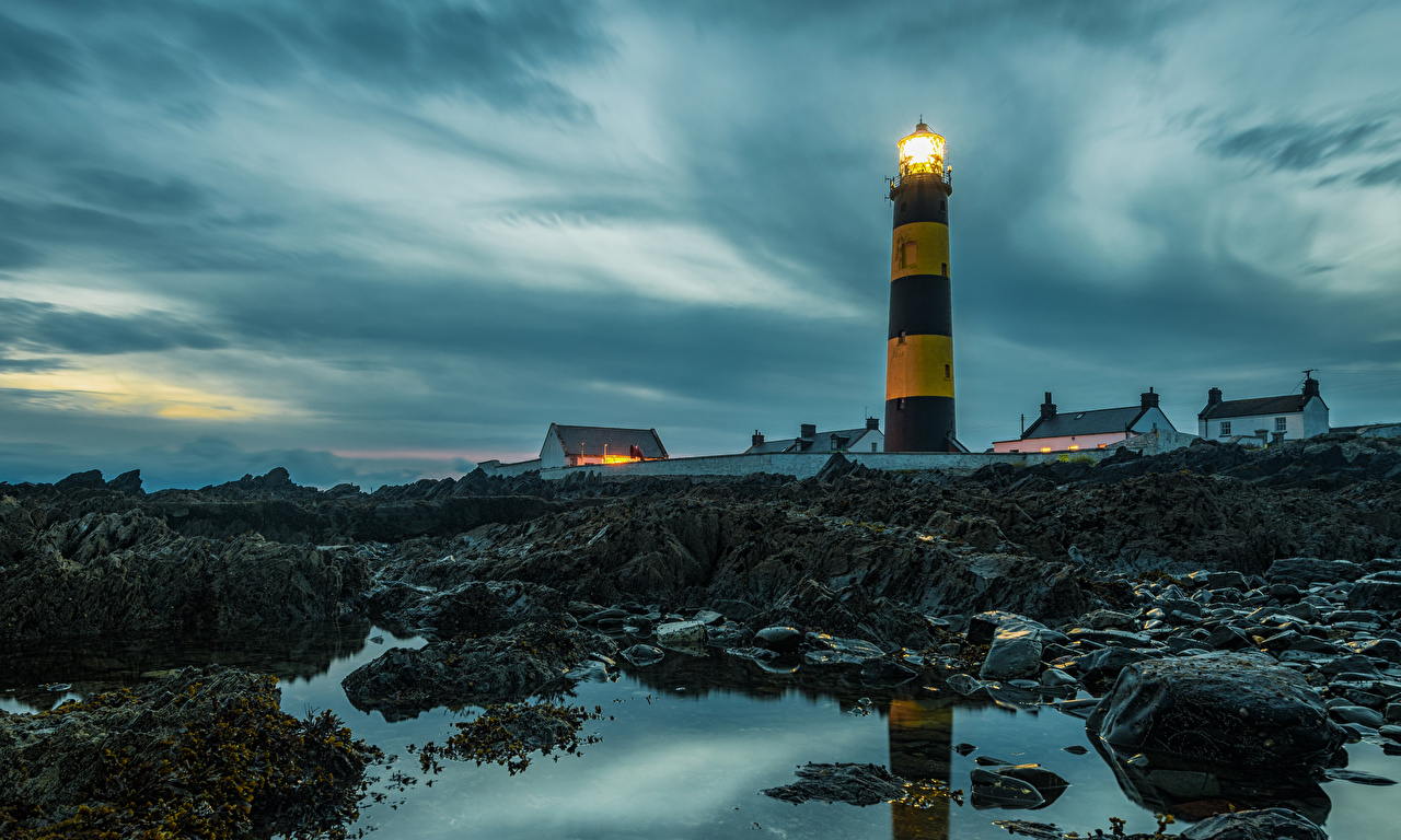 Обои Ирландия St Johns Lighthouse Маяки Камни Вечер Камень