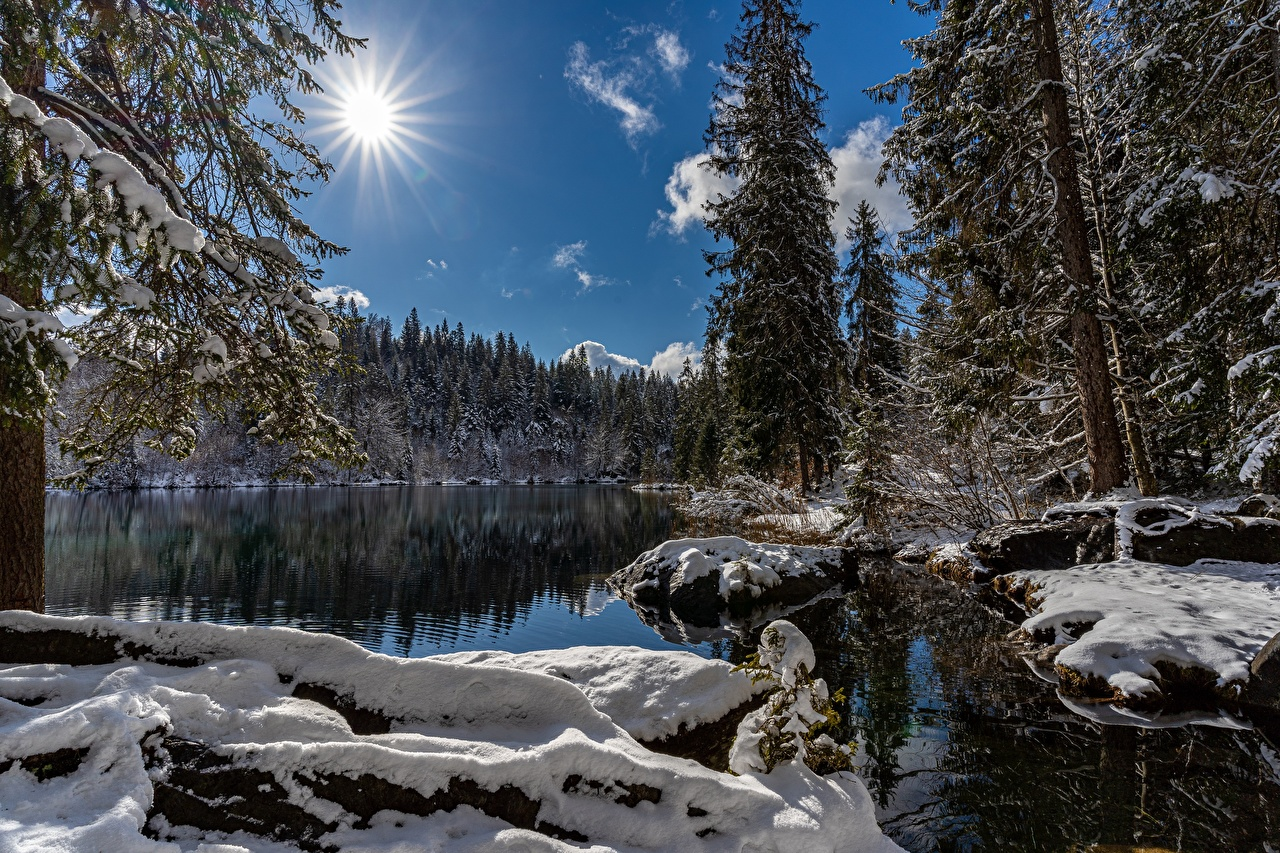 Фотографии Швейцария Lake Cresta зимние солнца Природа Озеро снегу Зима Солнце Снег снега снеге
