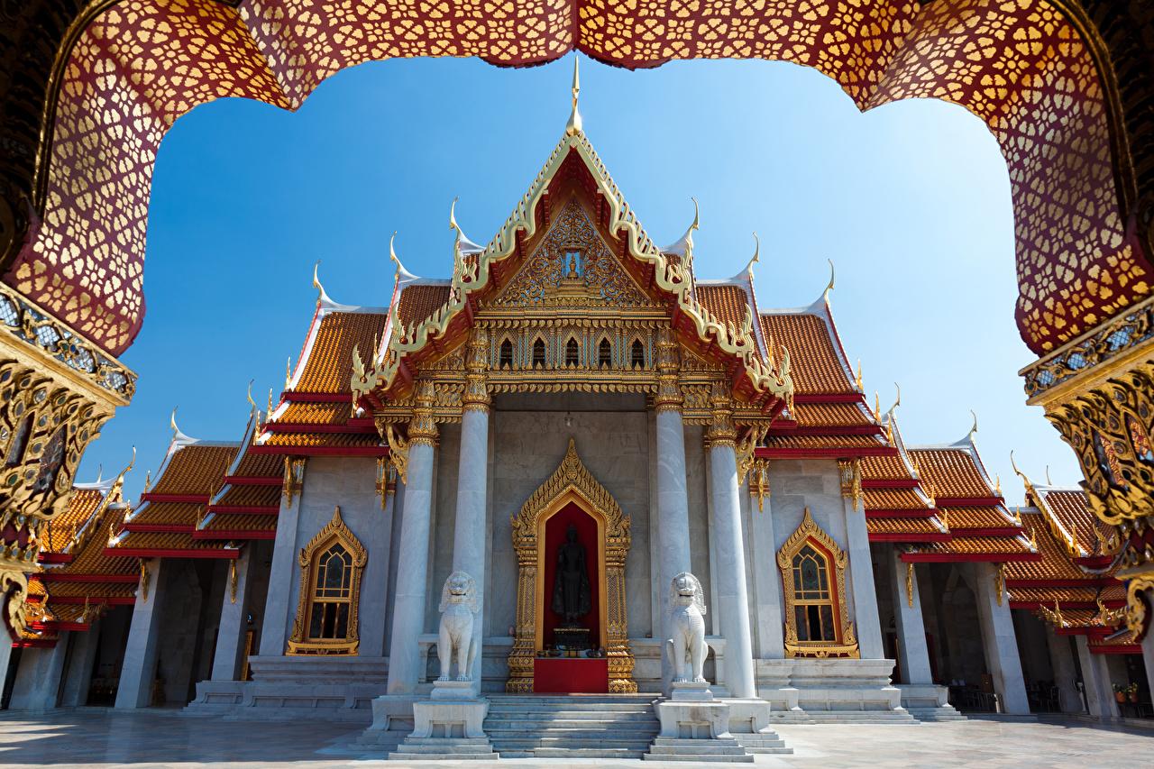 Картинки Бангкок Таиланд Храмы Города Скульптуры дизайна храм город скульптура Дизайн